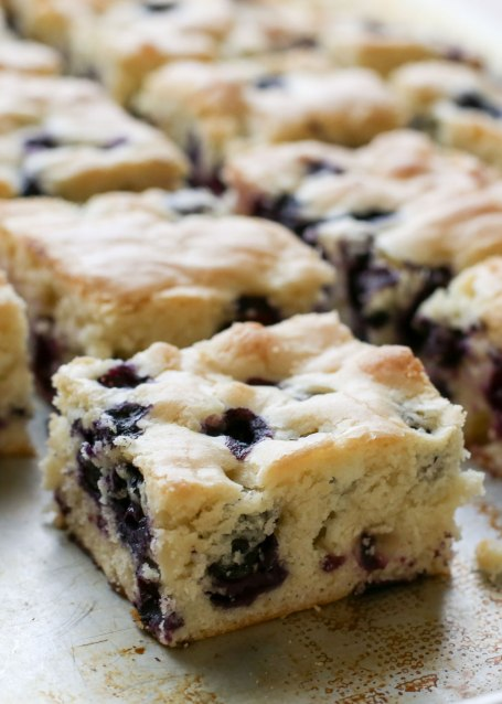 {Six Ingredient} Blueberry Snack Cake - traditional and gluten free recipes by Barefeet In The Kitchen